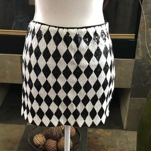 Bebe Black & White Sequence Mini Skirt.